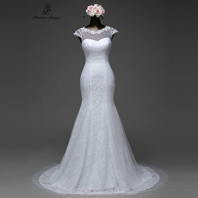 Elegant Cap Sleeve Mermaid Wedding Dress Removable Train and Lace Up Back