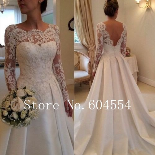 Size 4~22 White/Ivory Applique Long Sleeve A-Line Lace Wedding Dress