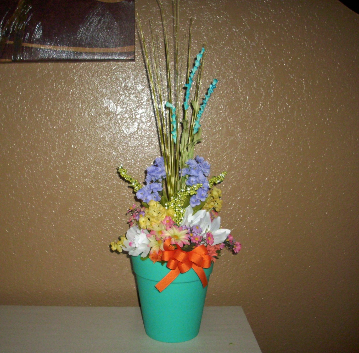 All around Bouquet with Silk Flowers, Bright colored pot