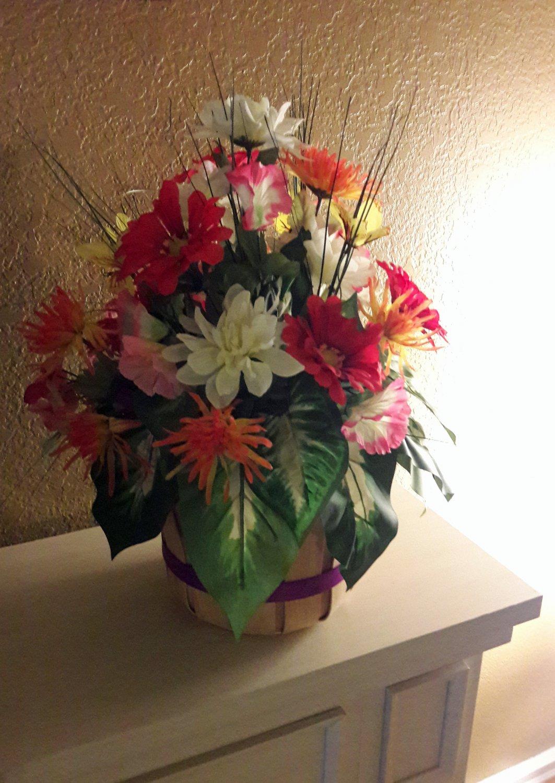 Summer Floral Arrangement Silk in Apple Basket