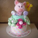Darling Pink Pig Diaper Cake, Baby Girl 2 layer cake, Stuffed with necessities
