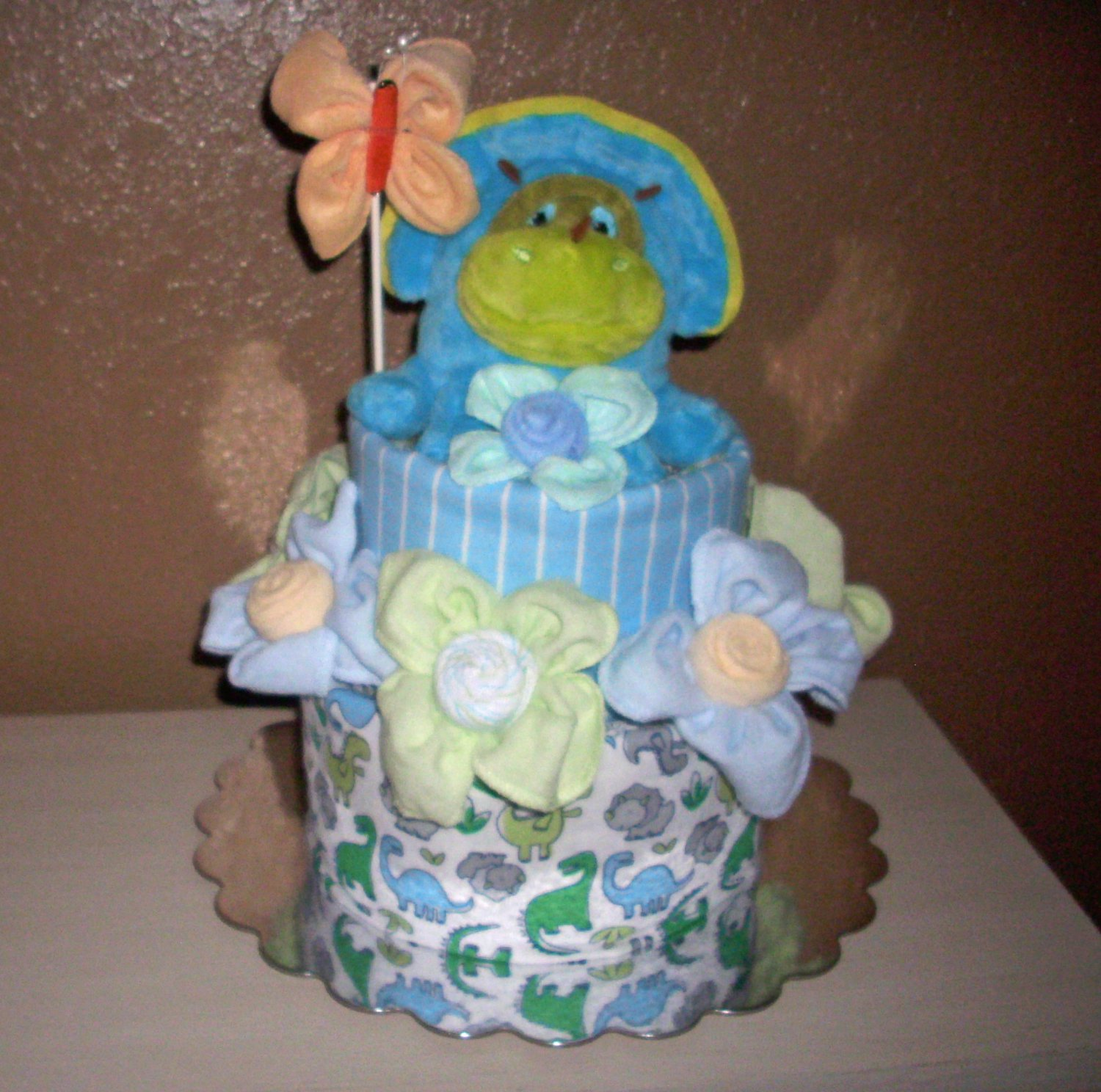 Dinosaur Diaper Cake, Baby Boy 2 layer cake, Stuffed with goodies