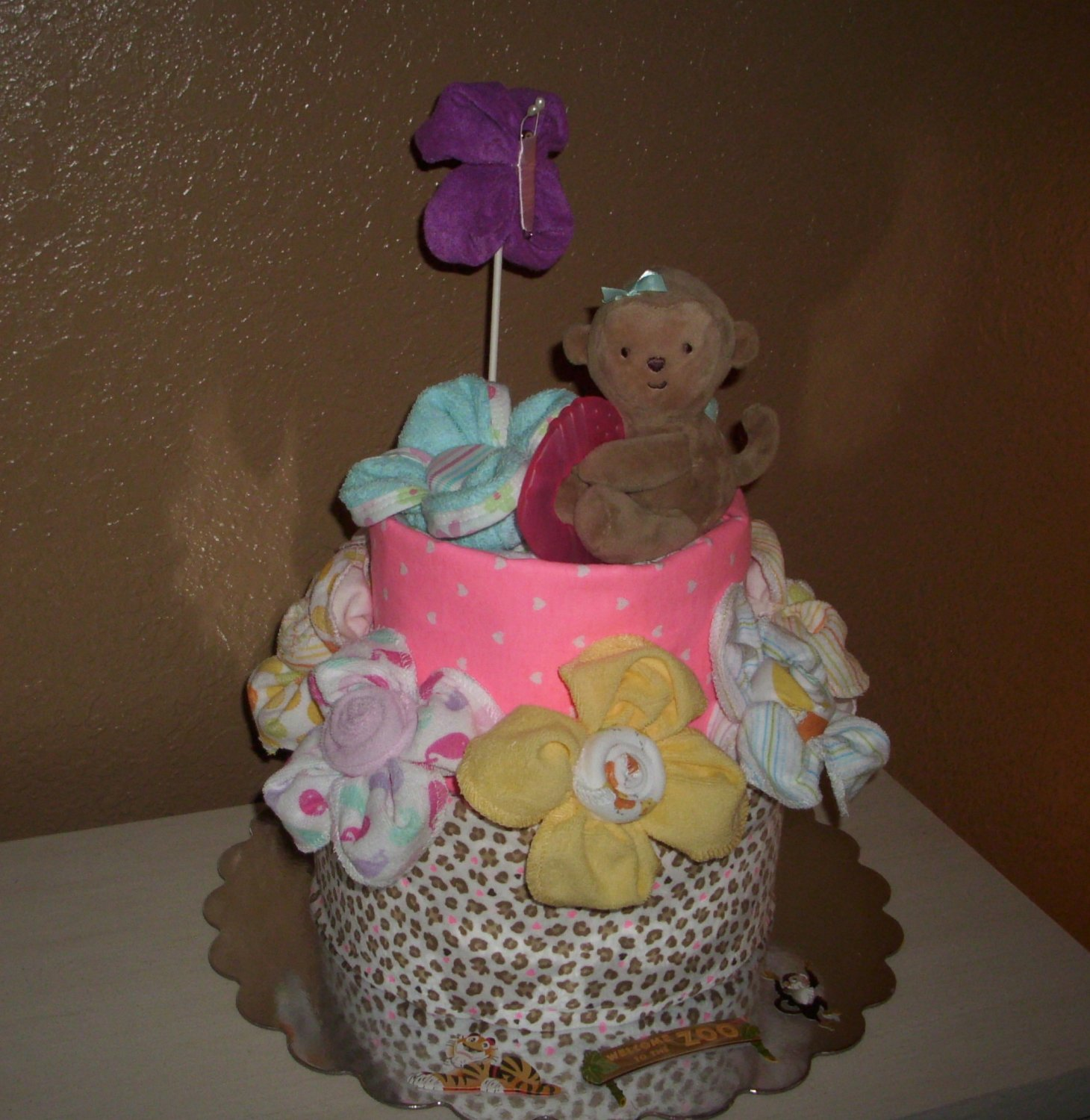 Monkey Diaper Cake, Baby Girl 2 layer cake, Stuffed with goodies
