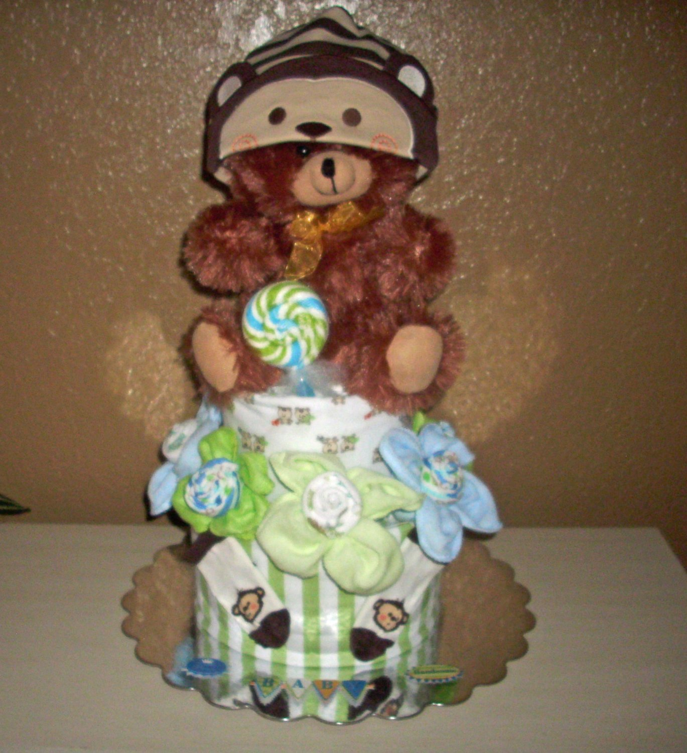 Teddy Bear Diaper Cake for Boy, more than just diapers and ribbon