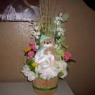 Baby Shower Bear ( Now I lay me down to sleep) Flower Arrangement w/silk flowers