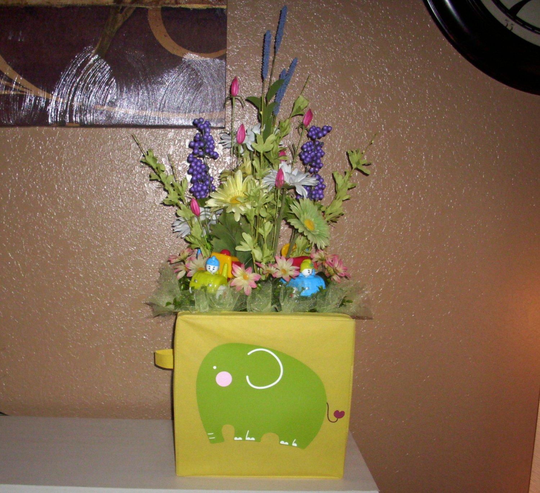 Baby Shower Floral Arrangement, Elephant with 4 trucks Nice centerpiece