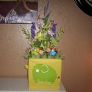 Baby Shower Floral Arrangement, Elephant with 4 trucks Nice centerpiece