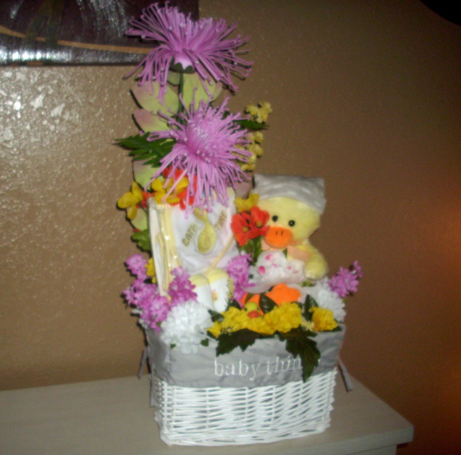 Baby Shower Gift Basket Full of Flowers & Duck Baby Items, Perfect Centerpiece