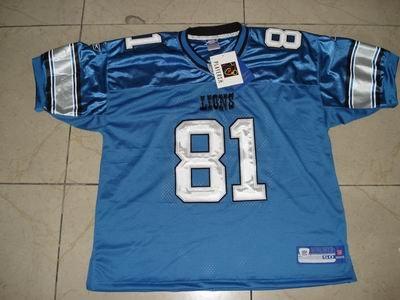 NFL #81 CALVIN JOHNSON DETROIT LIONS JERSEY blue size48/50/52/54