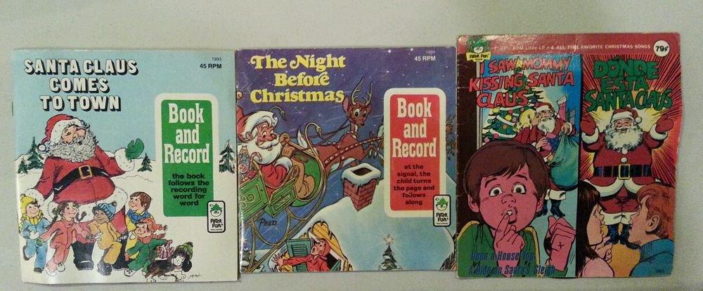 Lot of 3 Childrens Christmas Records - 45 & 33 1/3 rpm Album/Book Sets