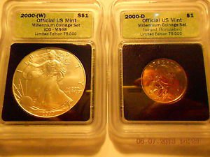 2000-(W) Silver Eagle(MS68)  & 2000-D Sacagawea Dollar Set  ICG #05491 intercept