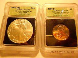 2000-(W) Silver Eagle(MS68)  & 2000-D Sacagawea Dollar Set  ICG #05490 intercept