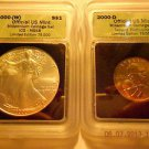 2000-(W) Silver Eagle(MS68)  & 2000-D Sacagawea Dollar Set  ICG #05459 intercept