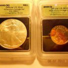 2000-(W) Silver Eagle(MS67)  & 2000-D Sacagawea Dollar Set  ICG #05492 Intercept