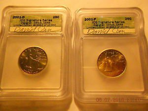 2001D & 2001P  New York State Quarters  Signature Series Set   Daniel Carr   ICG