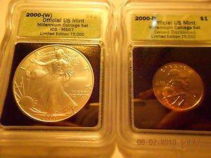 2000-(W) Silver Eagle(MS67)  & 2000-D Sacagawea Dollar Set  ICG #05443 Intercept