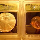 2000-(W) Silver Eagle(MS68)  & 2000-D Sacagawea Dollar Set  ICG #04934 intercept