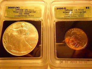 2000-(W) Silver Eagle(MS68)  & 2000-D Sacagawea Dollar Set  ICG #04934 intercept