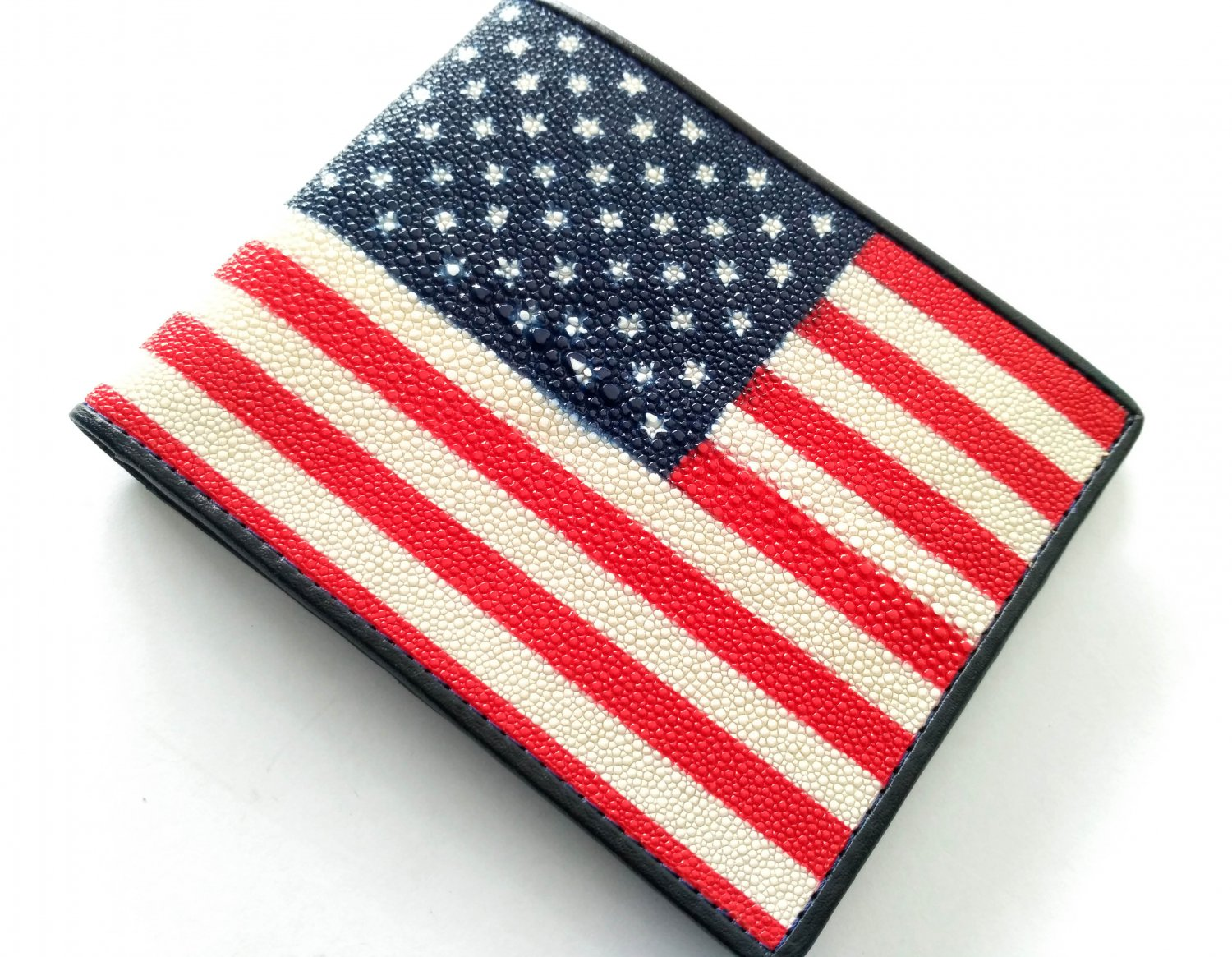 Stingray Leather Wallet Genuine Leather Bifold Wallet For Men American Flag Style