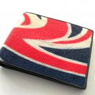 Genuine Stingray Leather Wallet For Men Union Jack Pattern Bifold Wallet