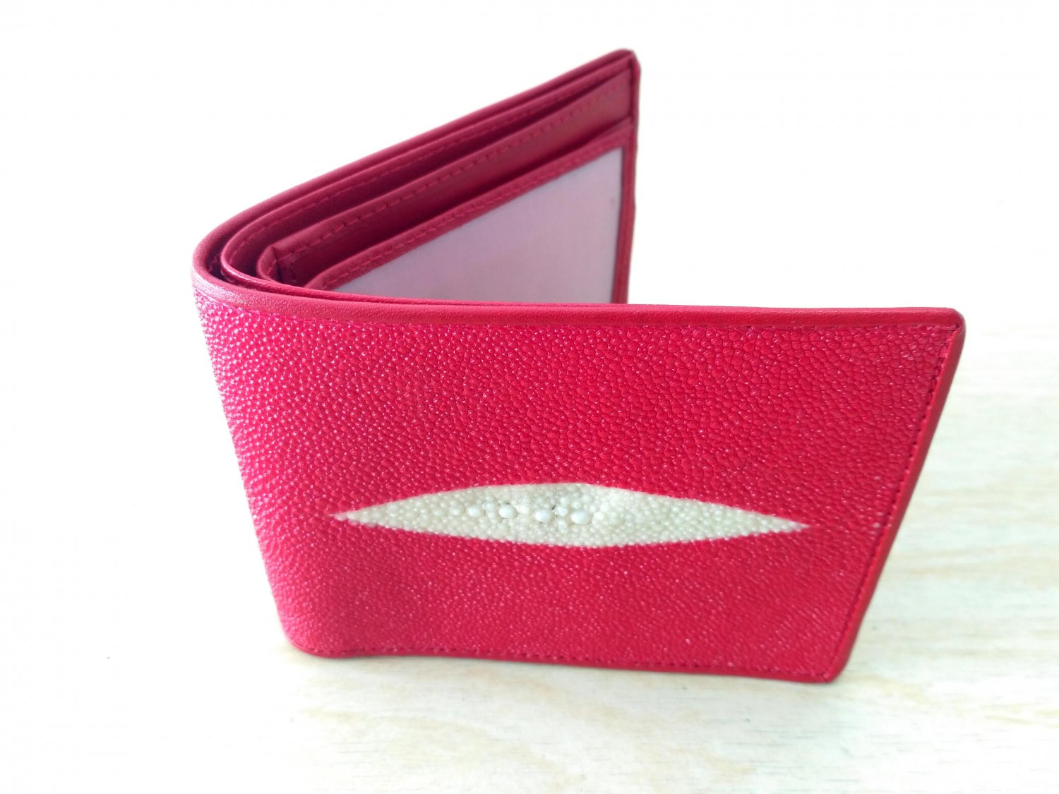 Real Genuine Stingray Leather Wallet For Men Red Color Bifold Wallet Diamond Eye Pattern