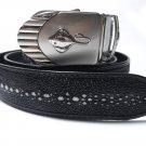 Stingray Leather Belt For Men Genuine Leather Belt Automatic Belt Buckle Black Full Row Fishbone