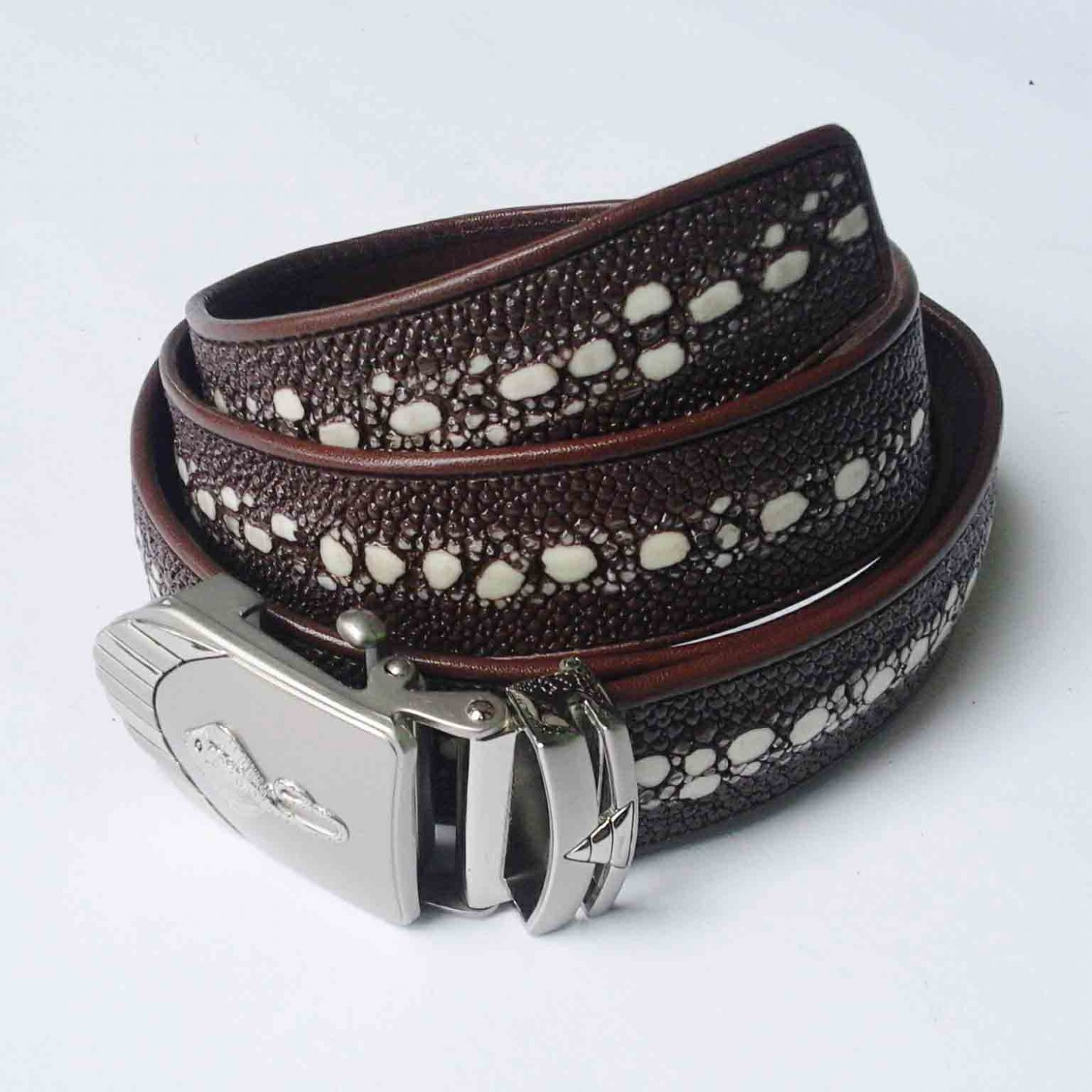 Stingray Leather Belt For Men Genuine Leather Belt Automatic Belt Buckle Brown Full Row Fishbone