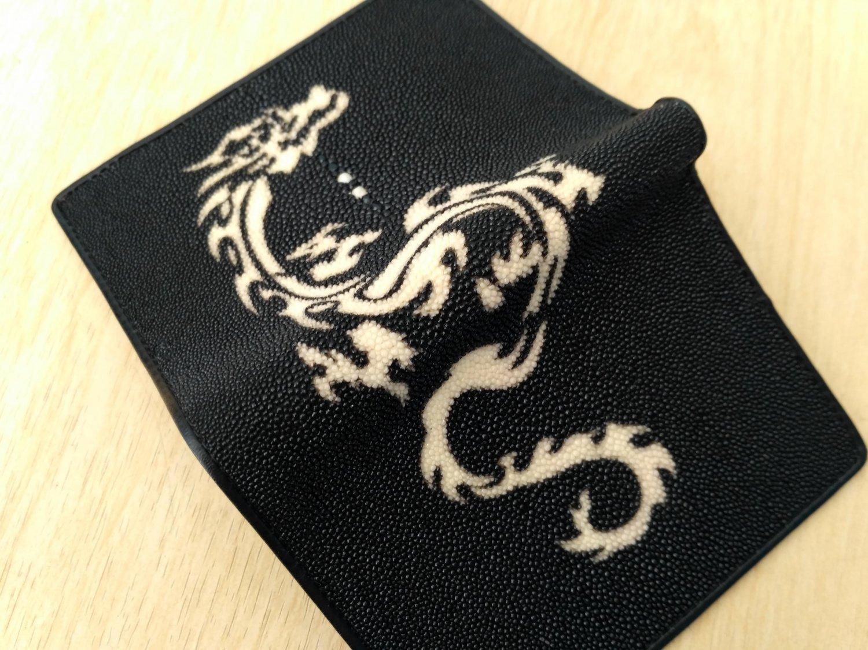 Stingray Leather Wallet For Men Black Color Bifold Wallet White Red Dragon Pattern
