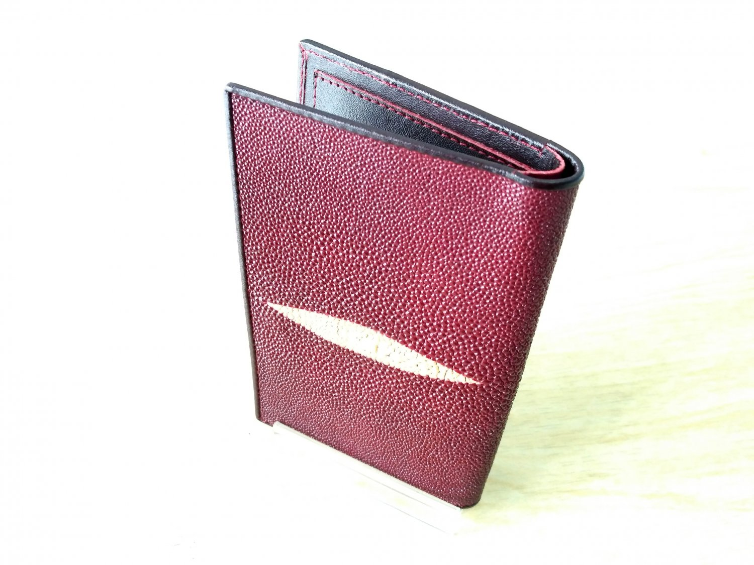Premium-Men-Wallet-Genuine-Stingray-Leather-Bifold-Wallet-Maroon-Red-Men-Purse