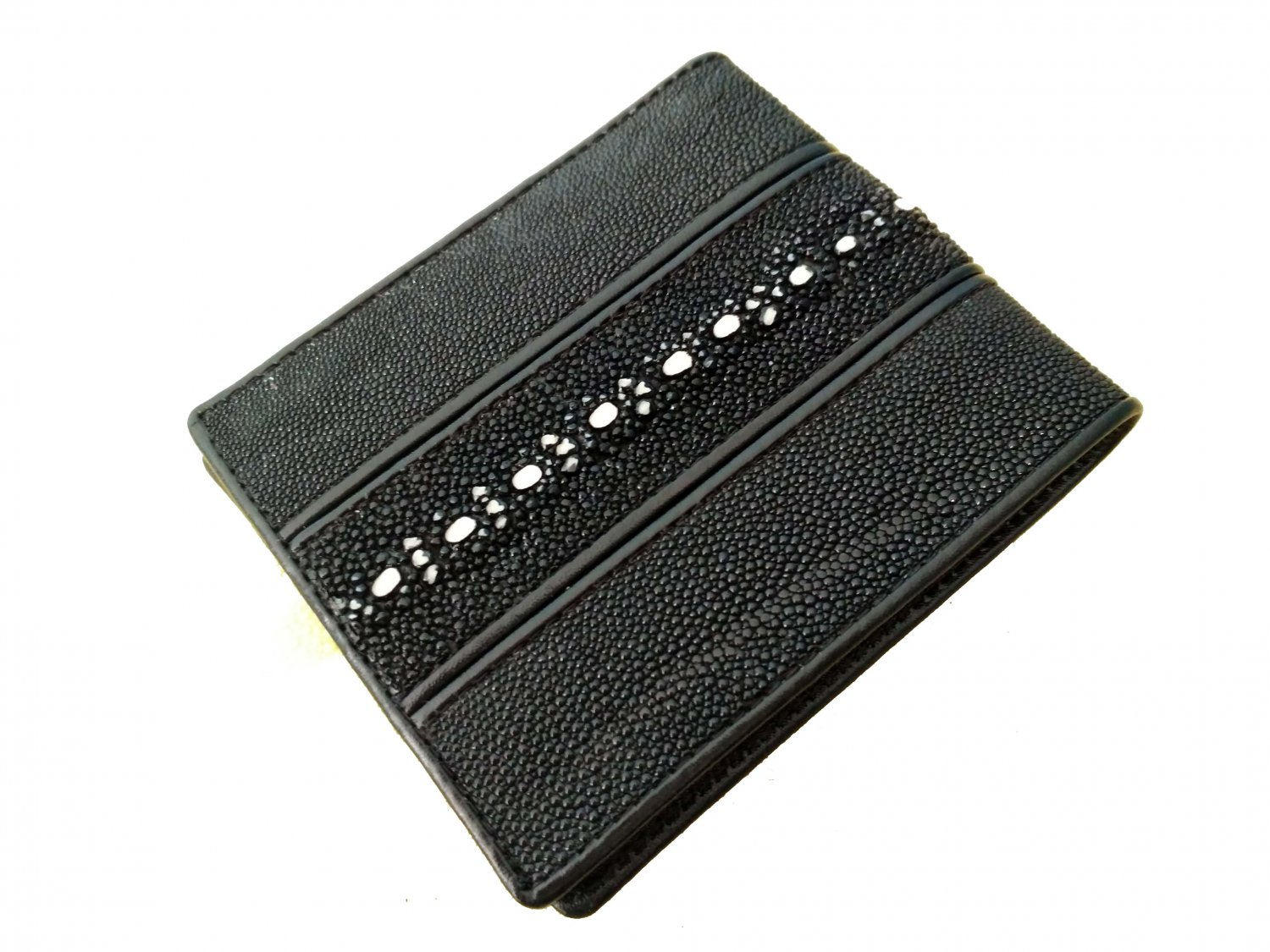 Real Leather Wallet For Men Black Color Bifold Wallet Stingray Backbone Double Line