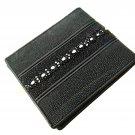 Real Leather Wallet For Men Black Color Bifold Wallet Stingray Backbone Double Line