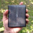 Best Quality Bifold Leather Wallet Sanded Stingray Skin Black Wallet For Men