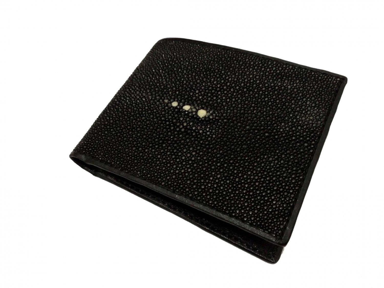 Genuine Stingray Leather Wallet Black Color Men Bifold Wallet