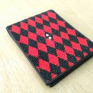 Genuine Stingray Leather Wallet Rhombus Style Red Wallet For Men