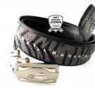 Real Leather Belt Stingray Leather Automatic Belt Buckle Black Color Tiger Stripe Pattern