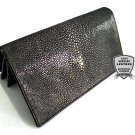 Genuine Stingray Leather Wallet Polished Black Sanded Stingray Skin Clutch Bag