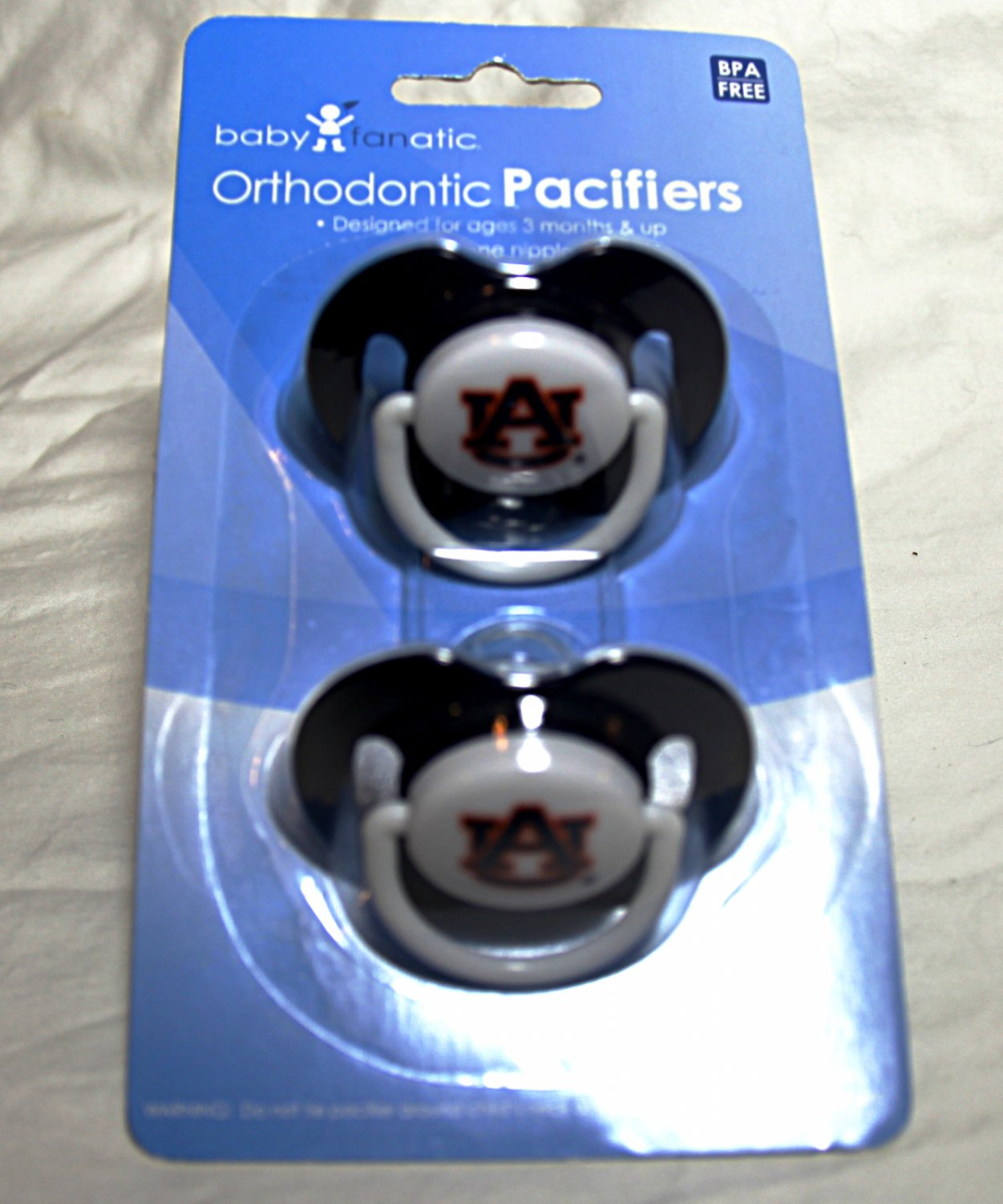 Auburn University Orthodontic Pacifiers by Baby Fanatic - Ages: 3 Months and up