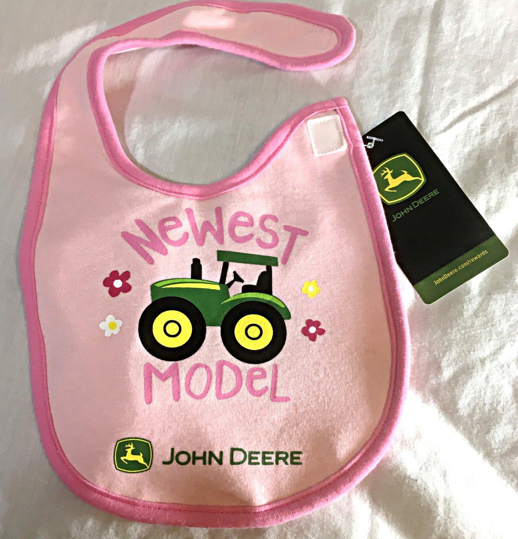 "John Deere Pink Cotton Girls Baby Bib - ""Newest Model "" - NEW"