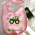 "John Deere Pink Cotton Girls Baby Bib - ""Newest Model "" - NEW"