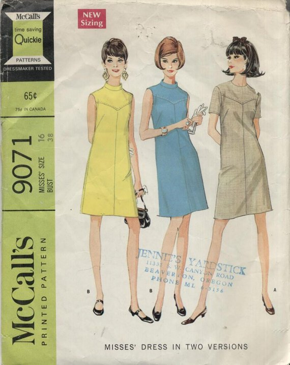 MCCALL'S PATTERN 9071--MISSES' DRESS IN 2 VERSIONS--SIZE 16/BUST 38