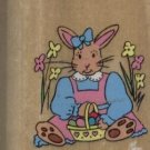 "Girl Bunny with Easter Egg Basket Rubber Stamp--1 3/4"" X 2""--Noteworthy"