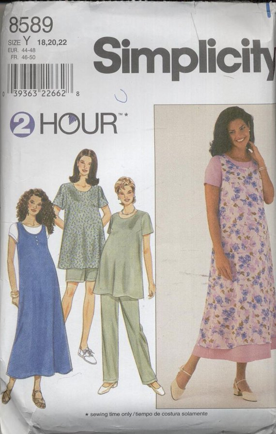 Simplicity Pattern 8589--Maternity Dress or Top, Jumper, Pants or Shorts--Size Y (18/20/22)