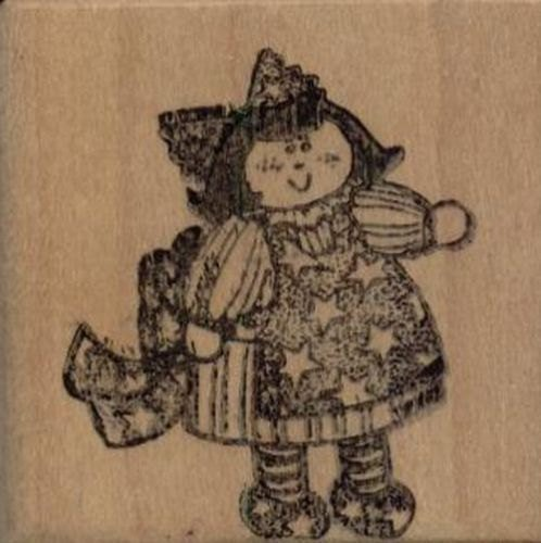 """Stars And Stripes Doll Rubber Stamp--2.25"""" X 2.25"""""""