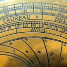 FRENCH ASTRONOMICAL ASTROLABE ON TEAK DISPLAY STAND IN ANTIQUATED BRASS