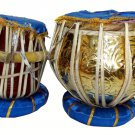 INDIAN TABLA DRUM SET IN HEAVY BRASS. FULL SIZE, NEW 2017 WITH DESIGNER HARDCASE