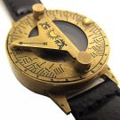 STEAMPUNK 40 mm SOLID BRASS SUNDIAL COMPASS WRIST WATCH. USA SHIPPING.