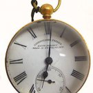 ANTIQUE 1850-1870 SWISS-MADE COURVOISIER BACKWINDING BRASS & CRYSTAL BALL WATCH