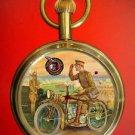 VINTAGE MOTORCYCLE BIKE ART COLLECTIBLE 17 JEWELS HEAVY BRASS POCKET WATCH