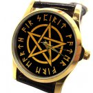 RARE WICCAN WITCH PENTAGRAM COLLECTIBLE ROLLED GOLD ON BRASS WRIST WATCH