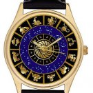 ASTROLOGY ZODIAC CIRCLE SUN SIGNS GORGEOUS MIDNIGHT BLUE & GOLD UNISEX WATCH